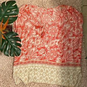 Lightweight Beach Floral Layering Top! Coral